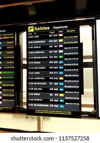 Barcelona, Spain - June 09, 2018: board of departure flights from the airport barcelona