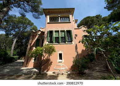 BARCELONA, SPAIN - JUNE 10, 2014: house of Antoni Gaudi and museum in the Park Guell on June 10, 2014 in Barcelona. The park is with other works of Gaudi part of the Unesco world heritage sites.