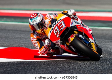 BARCELONA, SPAIN  JUNE 10, 2017: Marc Marquez during GP Monster Energy of Catalunya of MotoGP at Circuit of Barcelona-Catalunya.