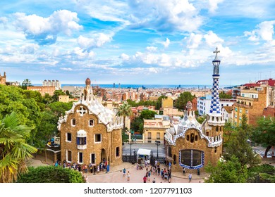 BARCELONA, SPAIN - JUNE 11, 2014: Park Guell by architect Gaudi in a summer day  in Barcelona, Spain.