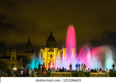 BARCELONA, SPAIN - JUNE 11, 2014: Magic Fountain light show at night next to National museum in Barcelona, Spain