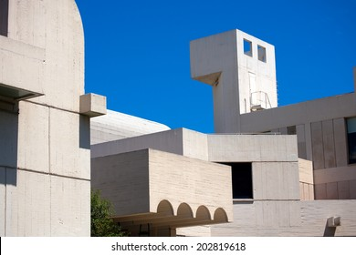 BARCELONA, SPAIN - JUNE 11, 2014: Fundacio Joan Miro - 1975, is a museum of modern art honoring Joan Miro located on the hill called Montjuic in Barcelona, Spain. Architect: Josep Lluis Sert