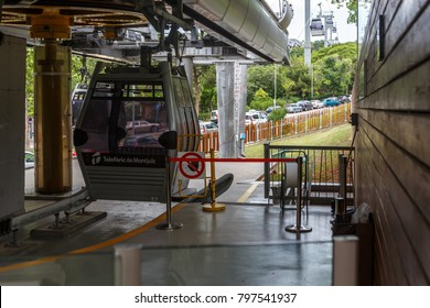BARCELONA, SPAIN - JUNE 12 2014: The famous Montjuic Cable Car at the city of Barcelona. It runs from a lower terminus and climbs higher up the Montjuic hill to a terminal near the Montjuic Castle