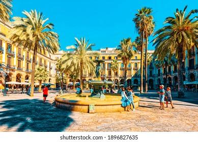 Barcelona, Spain - June 12, 2017 : Barcelona- capital of the autonomy of Catalonia. View of Royal Square (Placa Real) and Pedagogical Science Museum (Museo Pedagogico De Ciencias) . Spain.