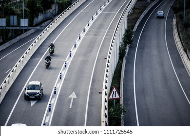 Barcelona, Spain - June 12, 2018: One of the main accesses to the city of Barcelona is in the area of Ciudad Meridiana where roads C-58, C-17 and C-33 are located. In non-peak hours is fluid.