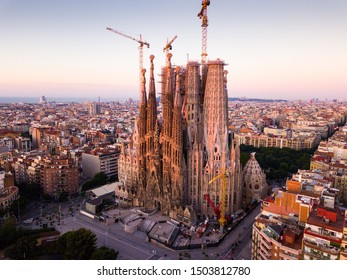 BARCELONA, SPAIN- JUNE 13, 2019: Aerial panoramic view of modern urban landscape in Barcelona with Sagrada Familia