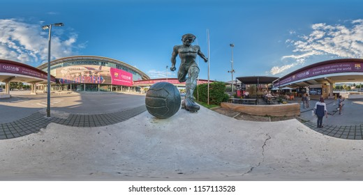 Barcelona, Spain. June 16, 2017: Overview of the outside of the Nou Camp stadium of Club Barcelona. Full spherical 360 degrees seamless panorama, photo for VR AR content