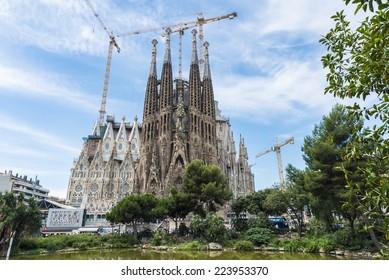 Barcelona, Spain - June 18, 2014: The Basilica i Temple Expiatori de la Sagrada Familia, is a large Roman Catholic church in Barcelona, Spain, designed by Catalan architect Antoni Gaudi.
