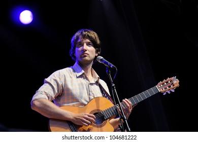 BARCELONA, SPAIN - JUNE 2: Eirik Glambek Boe, singer of Kings of Convenience band, performs at San Miguel Primavera Sound Festival on June 2, 2012 in Barcelona, Spain.
