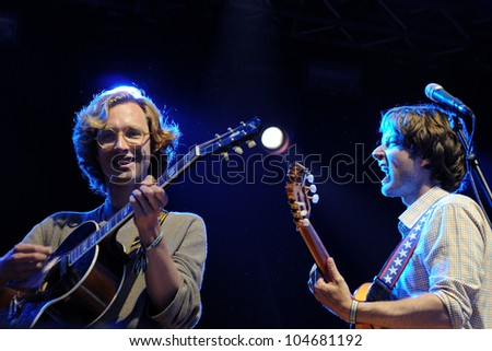 BARCELONA, SPAIN - JUNE 2: Kings of Convenience band performs at San Miguel Primavera Sound Festival on June 2, 2012 in Barcelona, Spain.