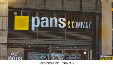 BARCELONA, SPAIN - June 20, 2017: showcase of restaurant Pans and Company, a fast food company that started its history in Barcelona in 1991. The brand today has more than 550 restaurants in the word