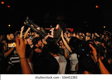 BARCELONA, SPAIN - JUNE 20: St. Vincent (band) crowd surfing at Apolo on June 20, 2012 in Barcelona, Spain.