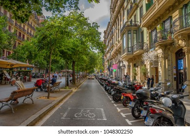 BARCELONA, SPAIN - JUNE 2017: Architectural buildings and street photography around the center of Barcelona city in a typical Summer day. Urban photography in Spain, Europe
