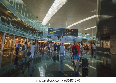 BARCELONA, SPAIN - JUNE 2017: Barcelona El Prat Airport BCN. It is the main airport of Catalonia, the second largest and second busiest in Spain and the seventh busiest in Europe.