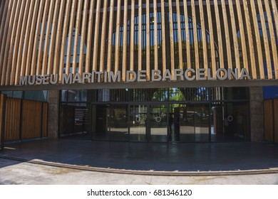 BARCELONA, SPAIN - JUNE 2017: Exterior of the famous Museu Maritim de Barcelona, Spain. The museum is is one of the most interesting sights, fitting in the former shipyards of Drasannes accommodated.