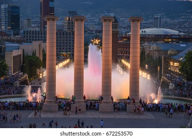 BARCELONA, SPAIN - JUNE 2017: Night view of Magic Fountain light show in Barcelona, Spain