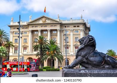Barcelona, Spain - June 2018: Buildings on Barcelona embankment near La Rambla street