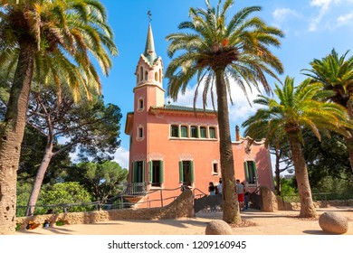 BARCELONA, SPAIN - June 2018: Gaudi House Museum in Guell park