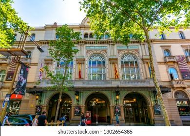 Barcelona, Spain - June 2018: Liceu theater on La Rambla street