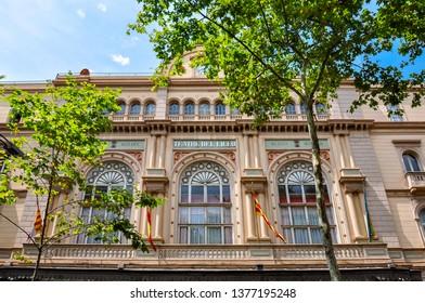 Barcelona, Spain - June 2018: Liceu theater facade on La Rambla street