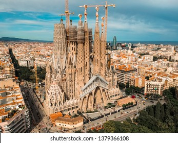 BARCELONA, SPAIN - June 2018: Sagrada Familia cathedral aerial drone view