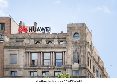 Barcelona, Spain. June 2019: Huawei Technologies Ad sing in a building of Barcelona's downtown, Plaza Catalunya.Huawei is among more than 140 Chinese entities on US trade blacklist