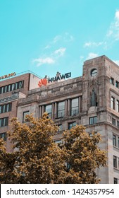 Barcelona, Spain. June 2019: Huawei Technologies Ad sing on top of a building located in Barcelona's downtown, Plaza Catalunya.Huawei is among more than 140 Chinese entities on US trade blacklist