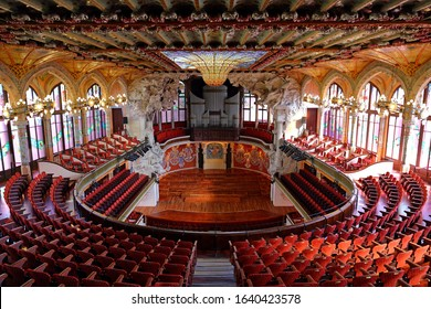 BARCELONA, SPAIN - June 20,2019: Palau de la Musica Catalana, modernist Concert Hall designed by the architect Lluis Domenech i Montaner in in Barcelona, Catalonia, Spain