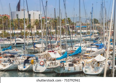BARCELONA, SPAIN - June 21, 2017 : overview of the Olympic Port of Barcelona, a marina opened in 1991 that hosted the boat competitions during the 1992 Summer Olympics