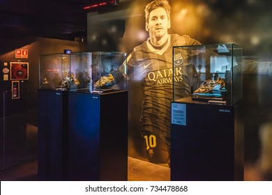 BARCELONA - SPAIN : JUNE 22, 2017: Lionel Messi and his Golden Shoes at the FC Barcelona museum. Camp Nou, Barcelona, Spain.