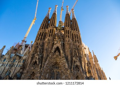 BARCELONA, SPAIN - JUNE 26, 2016: Sagrada Familia by Antoni Gaudi. in Barcelona,in a beautiful summer day, Catalonia, Spain on June 26, 2016