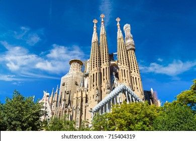 BARCELONA, SPAIN - JUNE 26, 2016: Sagrada Familia by Antoni Gaudi. in Barcelona,in a beautiful summer day, Catalonia, Spain on June 26, 2016