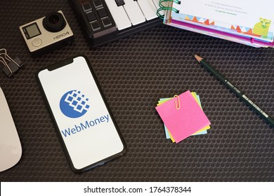 Barcelona, Spain - June 26, 2020; WebMoney with Stationery and Action Camera. WebMoney is an online payment settlement system. #WebMoney