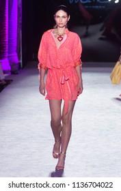 BARCELONA / SPAIN - JUNE 28: a model walks on the Lola Casademunt  catwalk during the 080 Barcelona Fashion runway Spring/Summer 2019 on June 28, 2018 in Barcelona, Spain.
