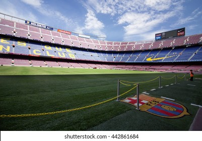 BARCELONA, SPAIN - JUNE 3, 2016. Visiting Camp Nou stadium - the official playground of FC Barcelona