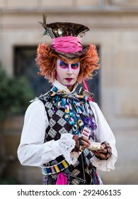 BARCELONA, SPAIN June 30, 2015: artfully made-up street artists on the famous ramblas in barcelona