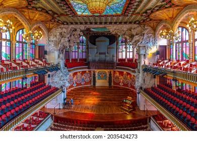 BARCELONA, SPAIN, JUNE 30, 2019: Interior of the palau de la musica in Barcelona, Spain