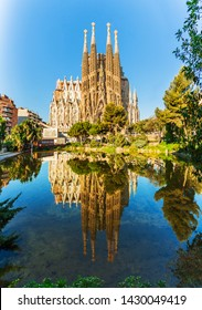 BARCELONA, SPAIN - JUNE 7, 2015: Expiatory Temple of the Holy Family. View of the Sagrada Familia a large Roman Catholic church designed by catalan architect Antonio Gaudi . Barcelona. Spain