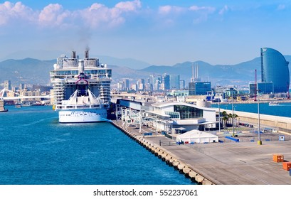 BARCELONA, SPAIN - JUNE 7, 2016:  Royal Caribbean's newest ship, The Harmony of the Seas, anchored in the port of Barcelona.