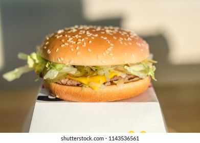 Barcelona, Spain - June 7, 2018: Mcdonald's Mac Jr. sandwich. Mac Jr. is smaller version of Big Mac from McDonald's.