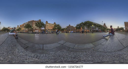 Barcelona, Spain. June 9, 2017: Relaxing sunset at the Plaza Catalunya weekend. Full spherical 360 degrees seamless panorama in equirectangular equidistant projection, photo for VR AR content