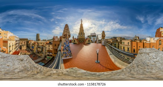Barcelona, Spain. June 9, 2017: Terrace of the Palace of Guell, Gaudi's original work in Barcelona. Full spherical 360 degrees seamless panorama in equirectangular equidistant projection, photo for VR