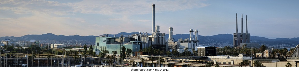 Barcelona, Spain - June 9, 2017: Industrial complex panorama from Barcelona Spain