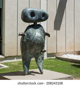 BARCELONA, SPAIN - JUNE1, 2014: Sculpture in front of Joan Miro Foundation. A museum of modern art honoring Joan Miro located on the hill called Montjuic. Architect: Josep Lluis Sert.