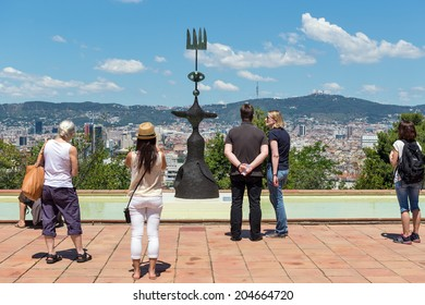 BARCELONA, SPAIN - JUNE1, 2014: Tourists in the terrace of Joan Miro Foundation. A museum of modern art honoring Joan Miro located on the hill called Montjuic. Architect: Josep Lluis Sert.