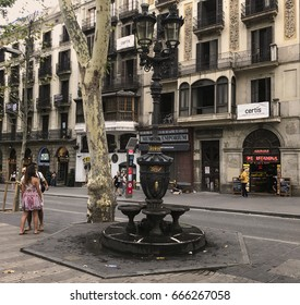 BARCELONA, SPAIN - June.25.2017 Fountain of Canaletes in Rambles
