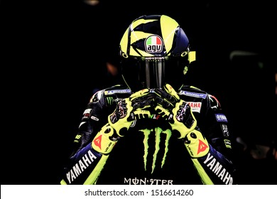 BARCELONA - SPAIN, JUNI 14: Italian Yamaha rider Valentino Rossi at 2019 Monster Energy MotoGP of Catalunya