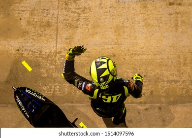 BARCELONA - SPAIN, JUNI 16: Italian Yamaha rider Valentino Rossi at 2019 Monster Energy MotoGP of Catalunya