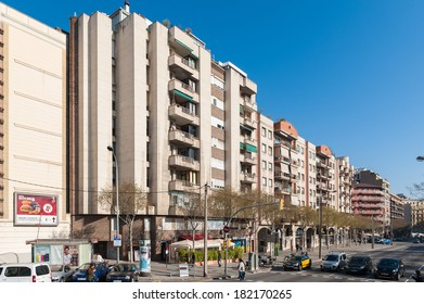 BARCELONA, SPAIN - MAR 15, 2014: Architecture of the Diagonal Avenue, one of the most important avenue in Barcelona, Spain. It cuts the city diagonally from west to east