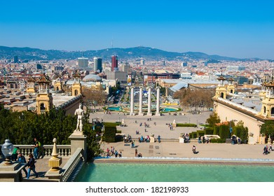 BARCELONA, SPAIN - MAR 15, 2014: View on the Spain Square from National Art Museum of Catalonia. It  is one of Barcelona's most important squares, built for the 1929 International Exhibition